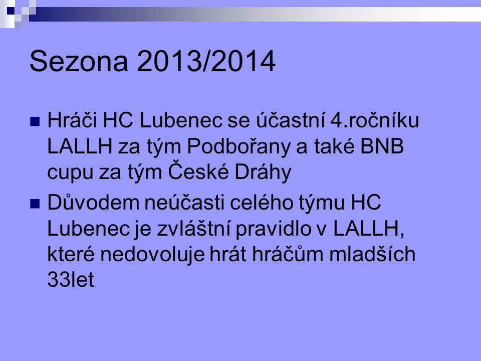 Sezona 2013/2014 Hráči HC Lubenec se účastní 4.ročníku LALLH za tým Podbořany a také BNB cupu za tým České Dráhy Důvodem neúčasti celého týmu HC Lubenec je zvláštní pravidlo v LALLH, které nedovoluje hrát hráčům mladších 33let