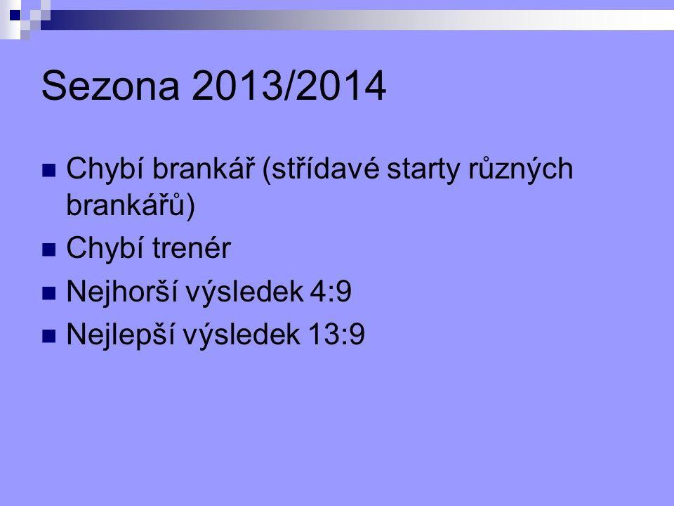 Sezona 2013/2014 Chybí brankář (střídavé starty různých brankářů) Chybí trenér Nejhorší výsledek 4:9 Nejlepší výsledek 13:9