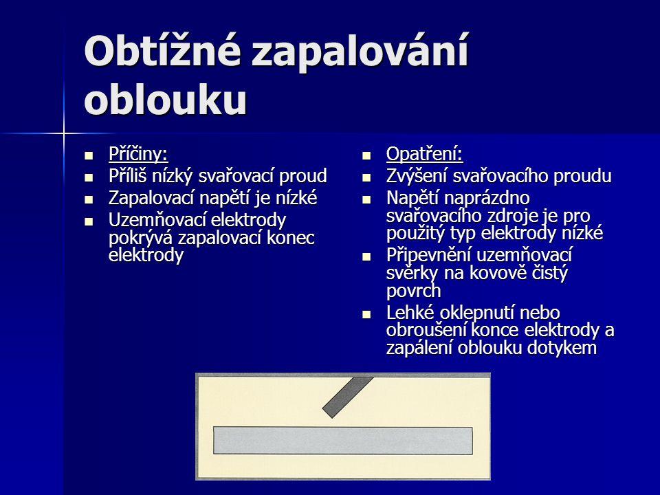 Obtížné zapalování oblouku Příčiny: Příčiny: Příliš nízký svařovací proud Příliš nízký svařovací proud Zapalovací napětí je nízké Zapalovací napětí je nízké Uzemňovací elektrody pokrývá zapalovací konec elektrody Uzemňovací elektrody pokrývá zapalovací konec elektrody Opatření: Opatření: Zvýšení svařovacího proudu Zvýšení svařovacího proudu Napětí naprázdno svařovacího zdroje je pro použitý typ elektrody nízké Napětí naprázdno svařovacího zdroje je pro použitý typ elektrody nízké Připevnění uzemňovací svěrky na kovově čistý povrch Připevnění uzemňovací svěrky na kovově čistý povrch Lehké oklepnutí nebo obroušení konce elektrody a zapálení oblouku dotykem Lehké oklepnutí nebo obroušení konce elektrody a zapálení oblouku dotykem