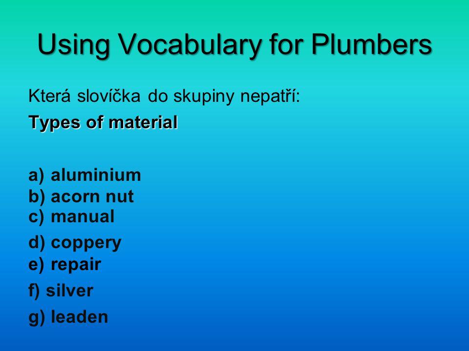 Using Vocabulary for Plumbers Správné řešení: b) acorn nut c) manual e) repair