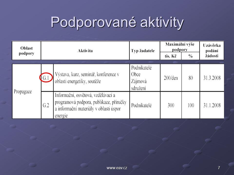 7www.eav.cz Podporované aktivity