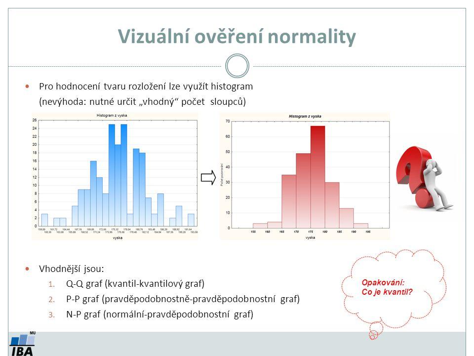 """Vizuální ověření normality Pro hodnocení tvaru rozložení lze využít histogram (nevýhoda: nutné určit """"vhodný"""" počet sloupců) Vhodnější jsou: 1. Q-Q gr"""