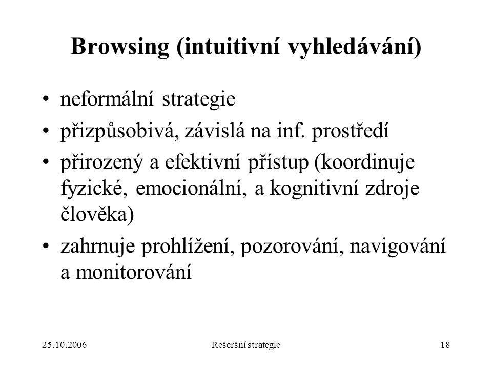 25.10.2006Rešeršní strategie18 Browsing (intuitivní vyhledávání) neformální strategie přizpůsobivá, závislá na inf.