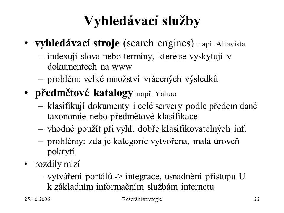 25.10.2006Rešeršní strategie22 Vyhledávací služby vyhledávací stroje (search engines) např.