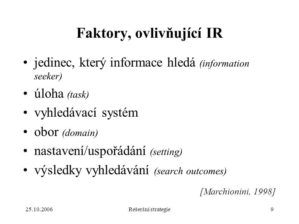 25.10.2006Rešeršní strategie9 Faktory, ovlivňující IR jedinec, který informace hledá (information seeker) úloha (task) vyhledávací systém obor (domain) nastavení/uspořádání (setting) výsledky vyhledávání (search outcomes) [Marchionini, 1998]