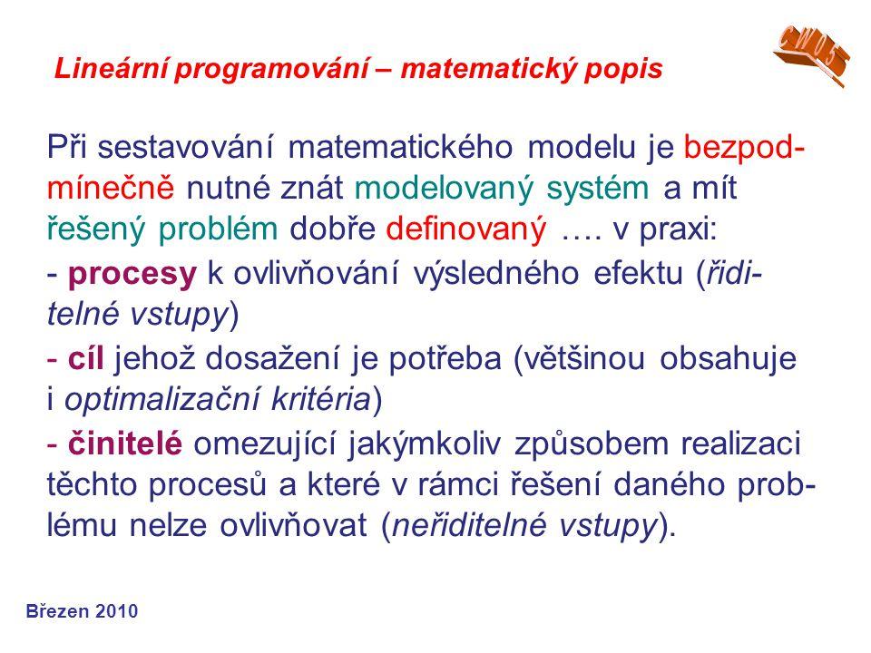 Lineární programování – matematický popis Březen 2010 Při sestavování matematického modelu je bezpod- mínečně nutné znát modelovaný systém a mít řešen