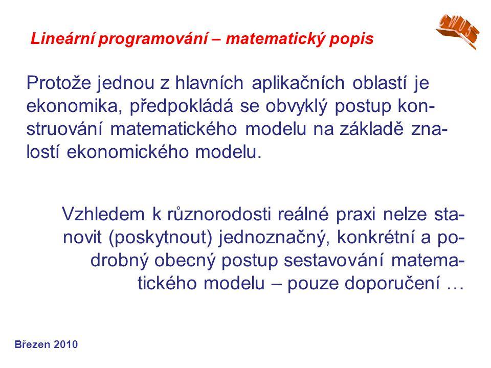 Lineární programování – matematický popis Březen 2010 Protože jednou z hlavních aplikačních oblastí je ekonomika, předpokládá se obvyklý postup kon- s
