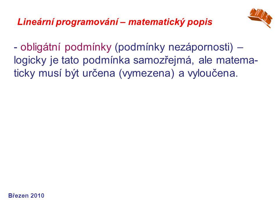 Lineární programování – matematický popis Březen 2010 - obligátní podmínky (podmínky nezápornosti) – logicky je tato podmínka samozřejmá, ale matema-