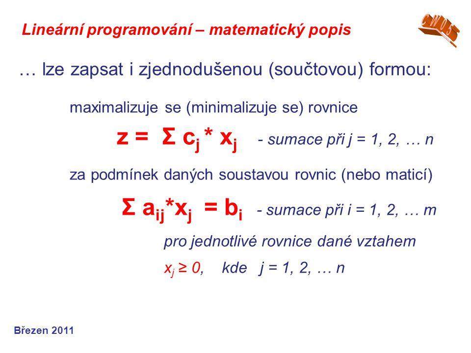 Lineární programování – matematický popis Březen 2011 … lze zapsat i zjednodušenou (součtovou) formou: maximalizuje se (minimalizuje se) rovnice z = Σ