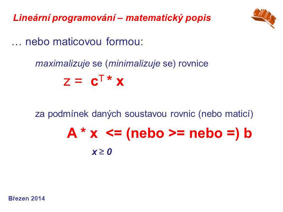 Lineární programování – matematický popis Březen 2014 … nebo maticovou formou: maximalizuje se (minimalizuje se) rovnice z = c T * x za podmínek danýc