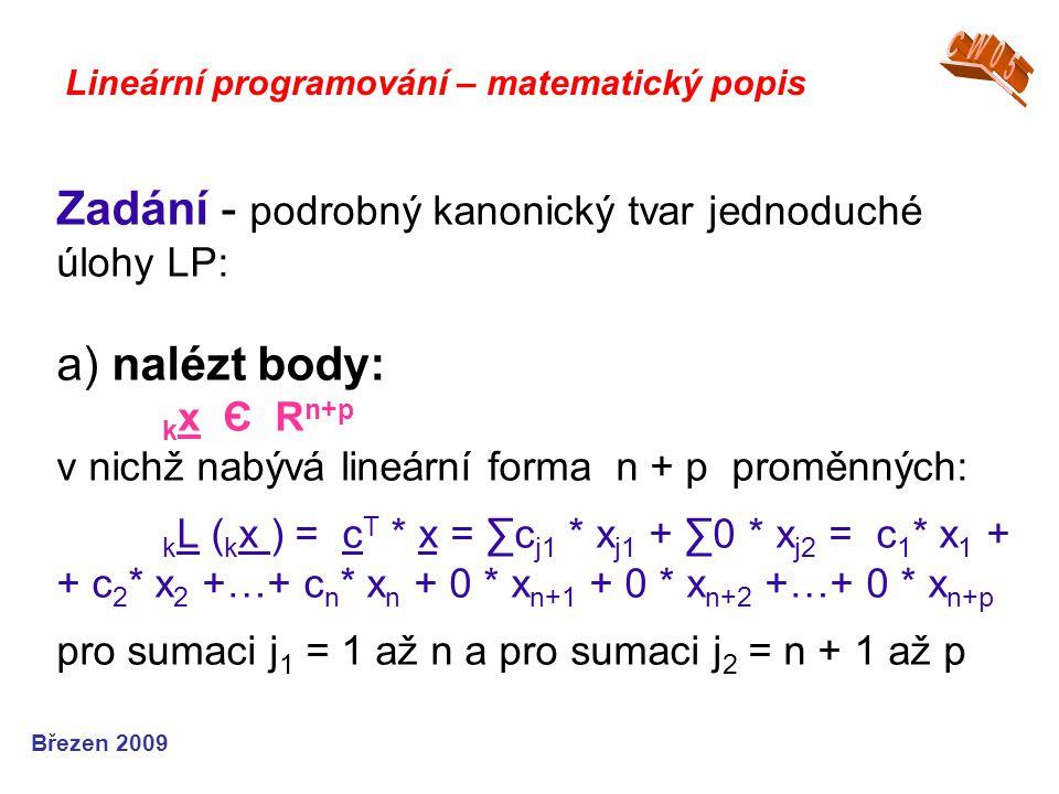 Zadání - podrobný kanonický tvar jednoduché úlohy LP: a) nalézt body: k x Є R n+p v nichž nabývá lineární forma n + p proměnných: k L ( k x ) = c T *