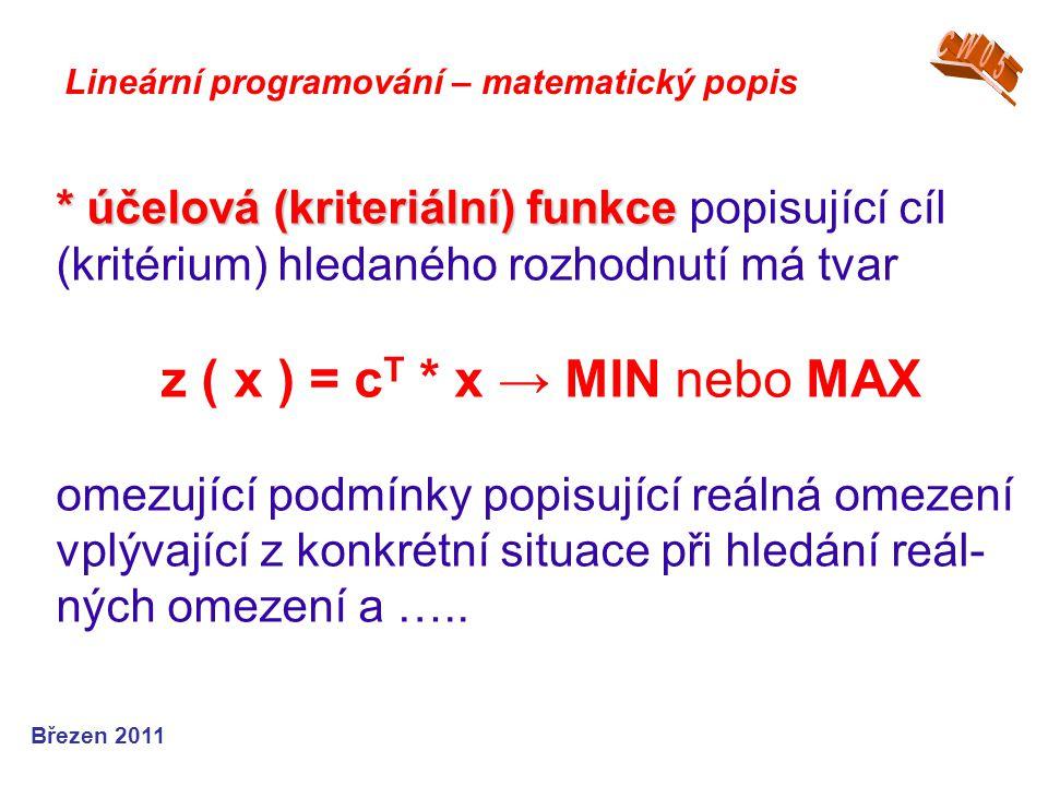 * účelová (kriteriální) funkce * účelová (kriteriální) funkce popisující cíl (kritérium) hledaného rozhodnutí má tvar z ( x ) = c T * x → MIN nebo MAX
