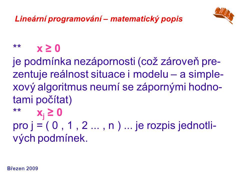 **x ≥ 0 je podmínka nezápornosti (což zároveň pre- zentuje reálnost situace i modelu – a simple- xový algoritmus neumí se zápornými hodno- tami počíta