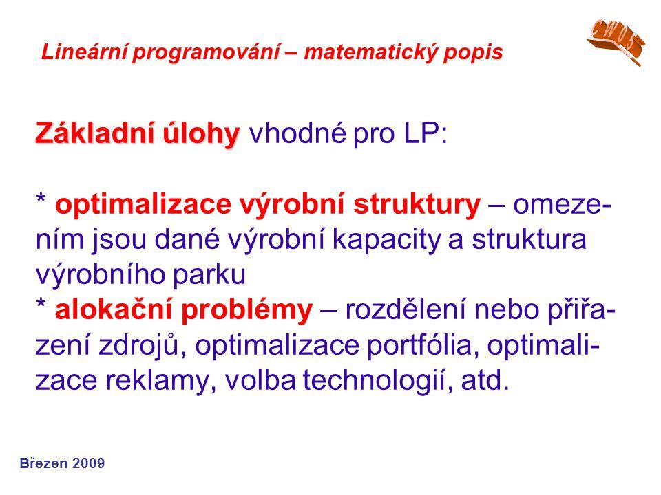 Základní úlohy Základní úlohy vhodné pro LP: * optimalizace výrobní struktury – omeze- ním jsou dané výrobní kapacity a struktura výrobního parku * al