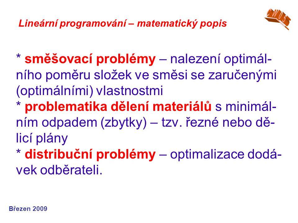 * směšovací problémy – nalezení optimál- ního poměru složek ve směsi se zaručenými (optimálními) vlastnostmi * problematika dělení materiálů s minimál