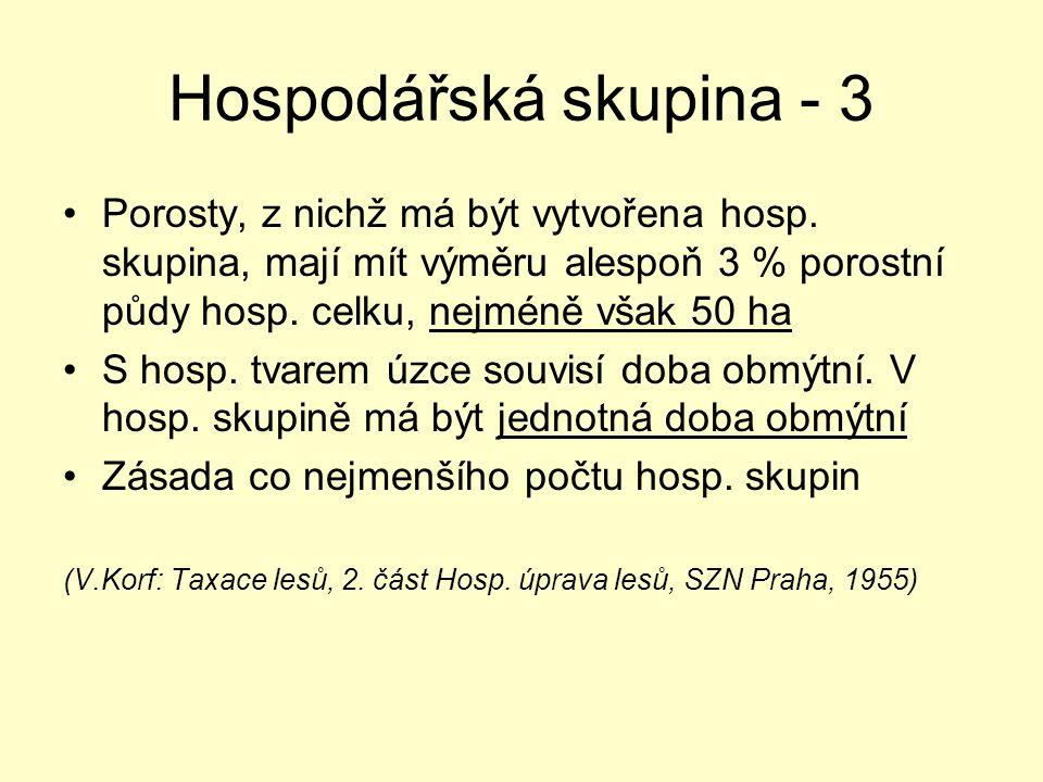 Hospodářská skupina - 3 Porosty, z nichž má být vytvořena hosp. skupina, mají mít výměru alespoň 3 % porostní půdy hosp. celku, nejméně však 50 ha S h