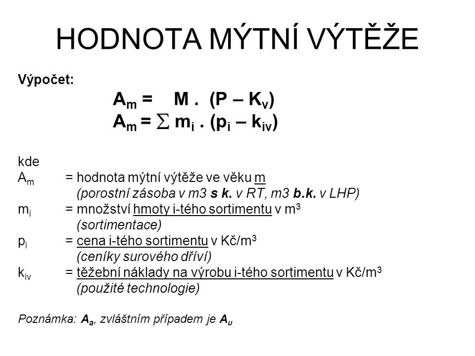 HODNOTA MÝTNÍ VÝTĚŽE Výpočet: A m = M. (P – K v ) A m =  m i. (p i – k iv ) kde A m = hodnota mýtní výtěže ve věku m (porostní zásoba v m3 s k. v RT,