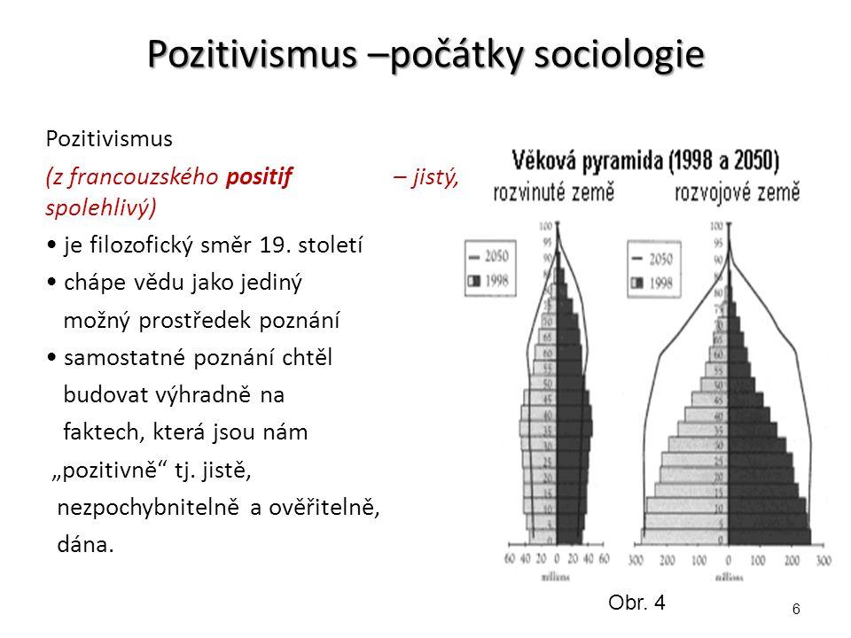 Pozitivismus –počátky sociologie Pozitivismus (z francouzského positif – jistý, spolehlivý) je filozofický směr 19.