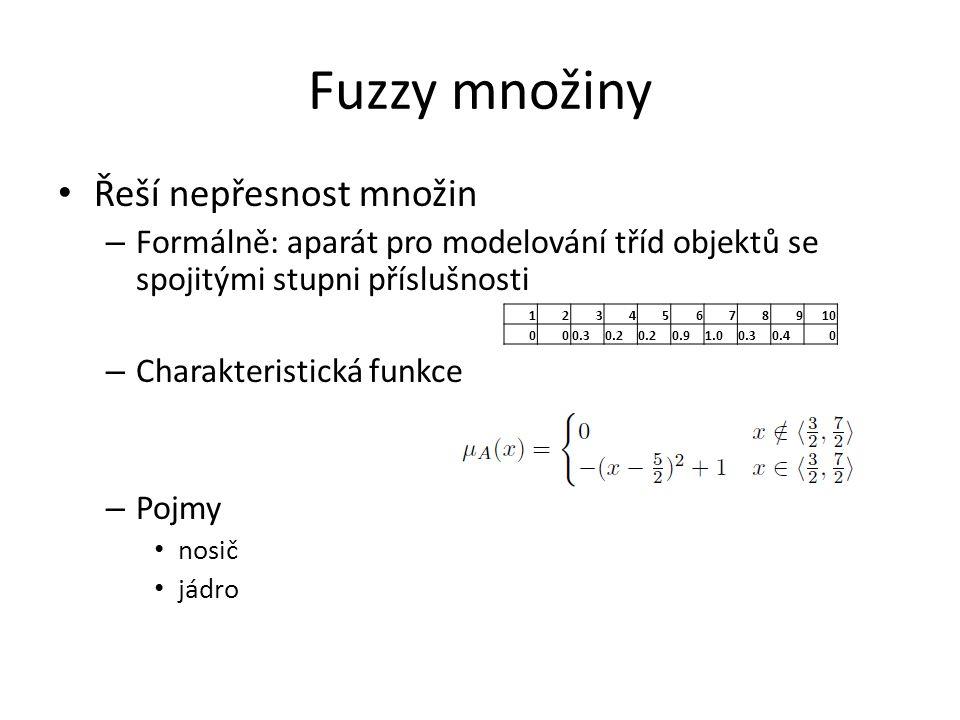Fuzzy množiny Řeší nepřesnost množin – Formálně: aparát pro modelování tříd objektů se spojitými stupni příslušnosti – Charakteristická funkce – Pojmy nosič jádro 12345678910 000.30.2 0.91.00.30.40