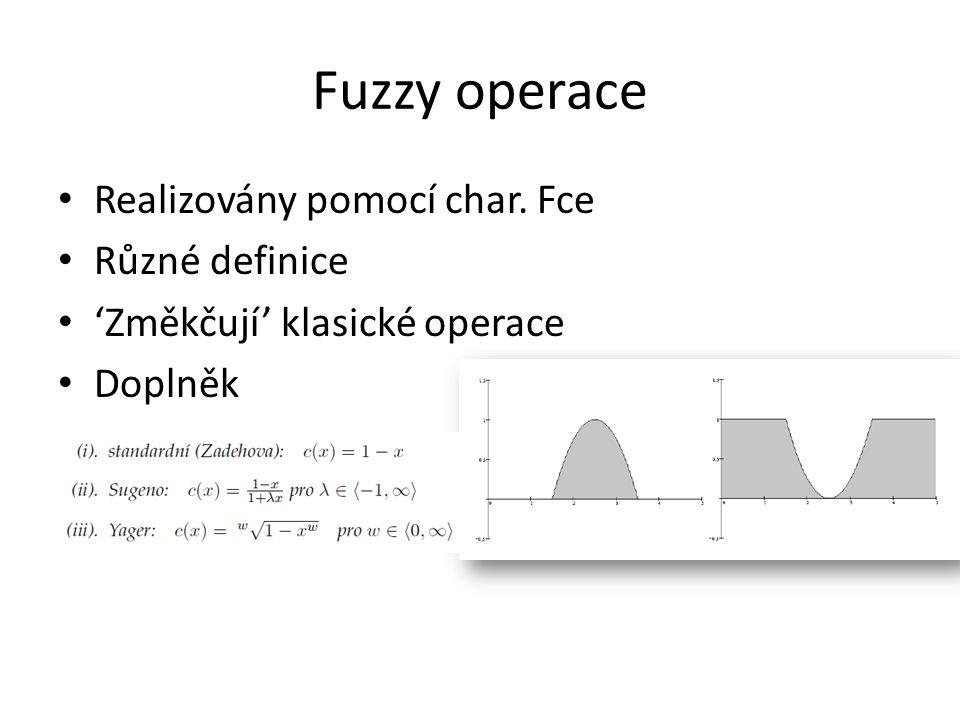 Fuzzy operace Realizovány pomocí char. Fce Různé definice 'Změkčují' klasické operace Doplněk