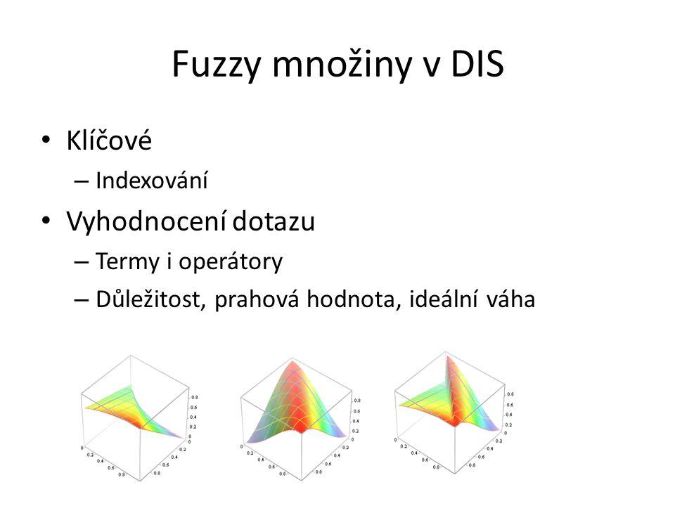 Fuzzy množiny v DIS Klíčové – Indexování Vyhodnocení dotazu – Termy i operátory – Důležitost, prahová hodnota, ideální váha