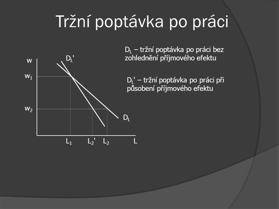 Tržní poptávka po práci Tržní poptávka po práci – je horizontálním součtem křivek poptávky po práci jednotlivých firem: ↓w → ↑ poptávaného množství pr