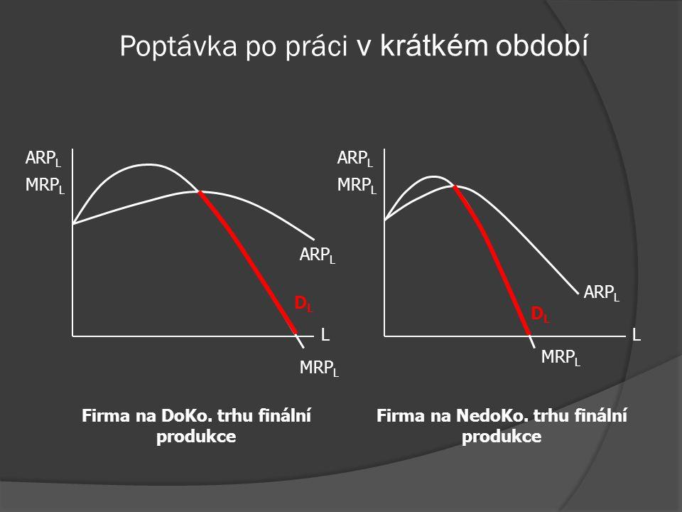 Poptávka na doko. trhu práce  Trh práce: DoKo.  Trh produkce: Nedoko. – klesající MR