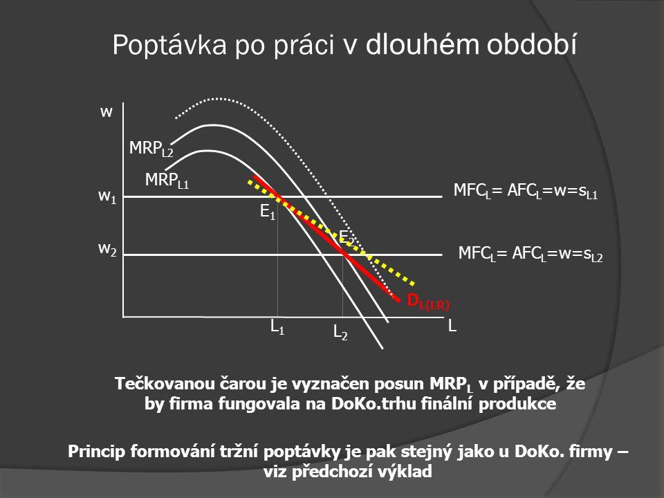 Poptávka po práci v dlouhém období  Vedle SE a PE se prosazuje již zmíněný příjmový efekt  Pokles w povede k poklesu MC – zvýší se rovnovážné množst