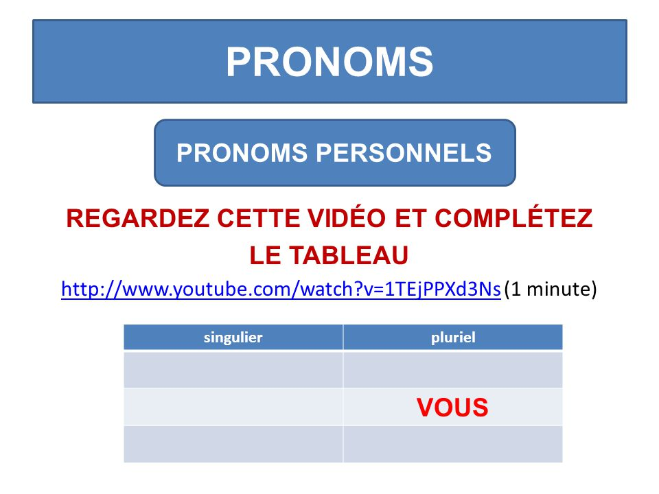 PRONOMS REGARDEZ CETTE VIDÉO ET COMPLÉTEZ LE TABLEAU http://www.youtube.com/watch?v=1TEjPPXd3Nshttp://www.youtube.com/watch?v=1TEjPPXd3Ns (1 minute) PRONOMS PERSONNELS singulierpluriel VOUS