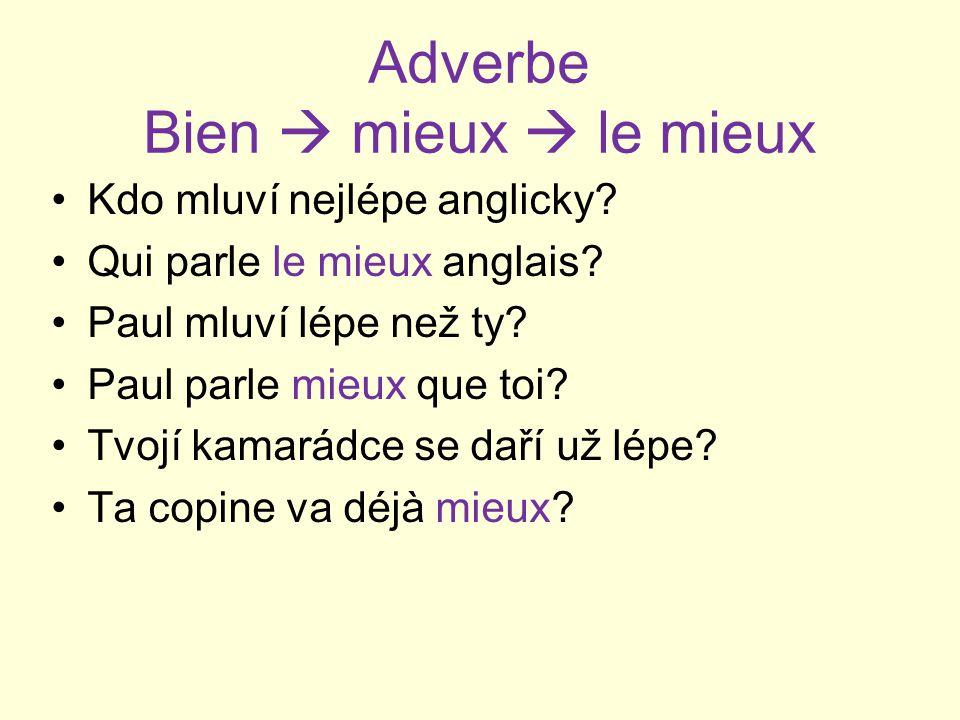 Adverbe Bien  mieux  le mieux Kdo mluví nejlépe anglicky.