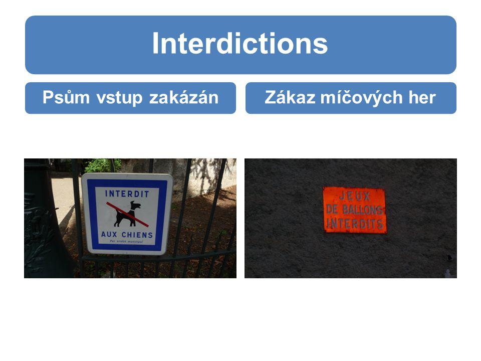 Interdictions Psům vstup zakázánZákaz míčových her