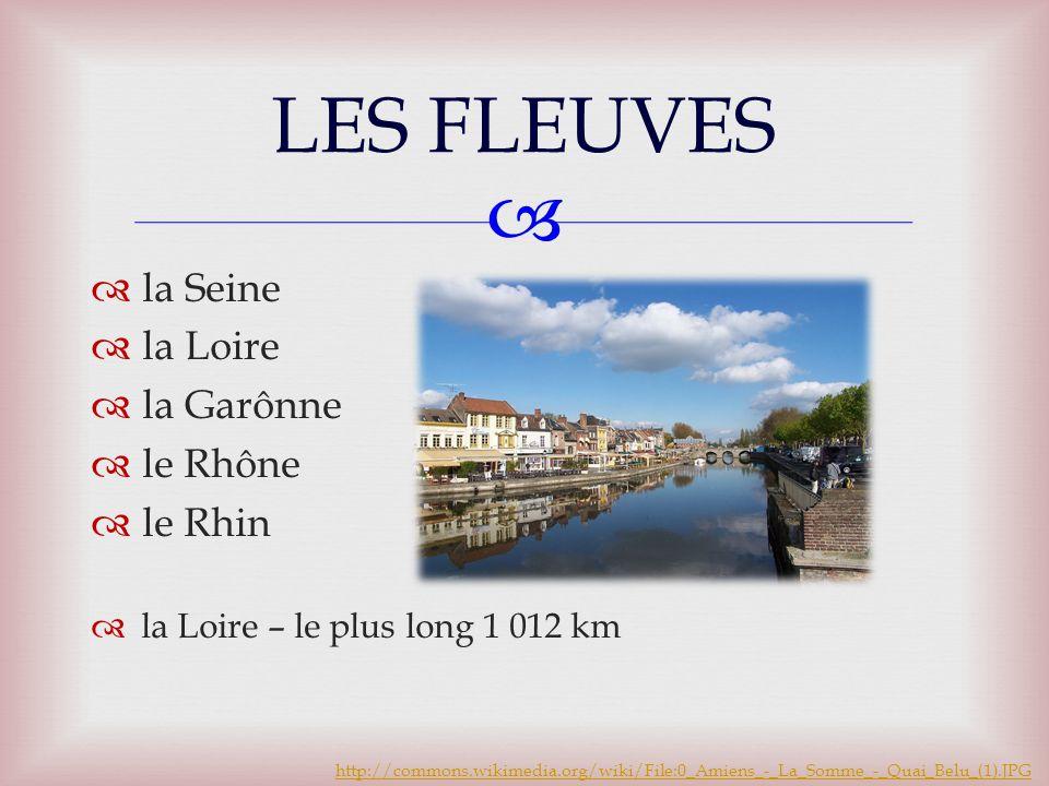   la Seine  la Loire  la Garônne  le Rhône  le Rhin  la Loire – le plus long 1 012 km LES FLEUVES http://commons.wikimedia.org/wiki/File:0_Amiens_-_La_Somme_-_Quai_Belu_(1).JPG