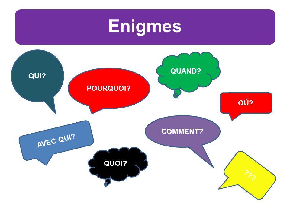 Enigmes OÙ POURQUOI QUAND AVEC QUI COMMENT QUI QUOI