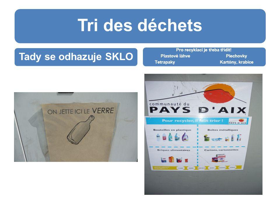 Tri des déchets Tady se odhazuje SKLO Pro recyklaci je třeba třídit.