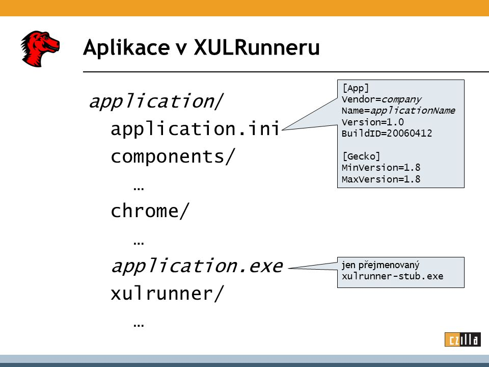 Aplikace v XULRunneru application/ application.ini components/ … chrome/ … application.exe xulrunner/ … [App] Vendor=company Name=applicationName Version=1.0 BuildID=20060412 [Gecko] MinVersion=1.8 MaxVersion=1.8 jen přejmenovaný xulrunner-stub.exe