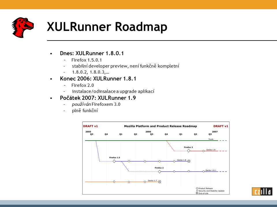 XULRunner Roadmap Dnes: XULRunner 1.8.0.1 ~ Firefox 1.5.0.1 –stabilní developer preview, není funkčně kompletní –1.8.0.2, 1.8.0.3,… Konec 2006: XULRun