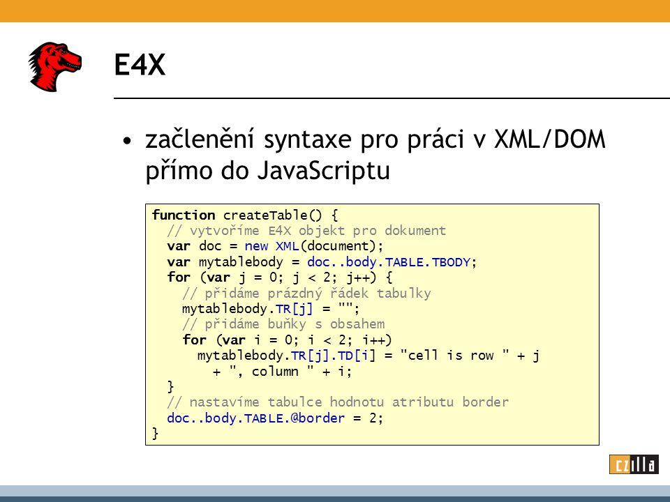 E4X začlenění syntaxe pro práci v XML/DOM přímo do JavaScriptu function createTable() { // vytvoříme E4X objekt pro dokument var doc = new XML(documen