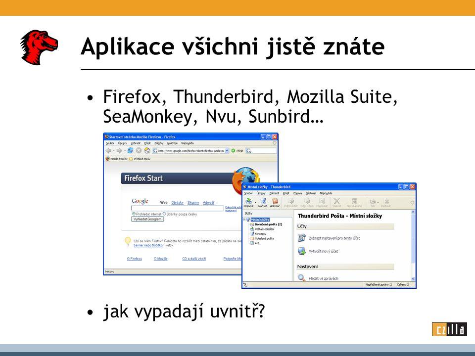 Aplikace všichni jistě znáte Firefox, Thunderbird, Mozilla Suite, SeaMonkey, Nvu, Sunbird… jak vypadají uvnitř?