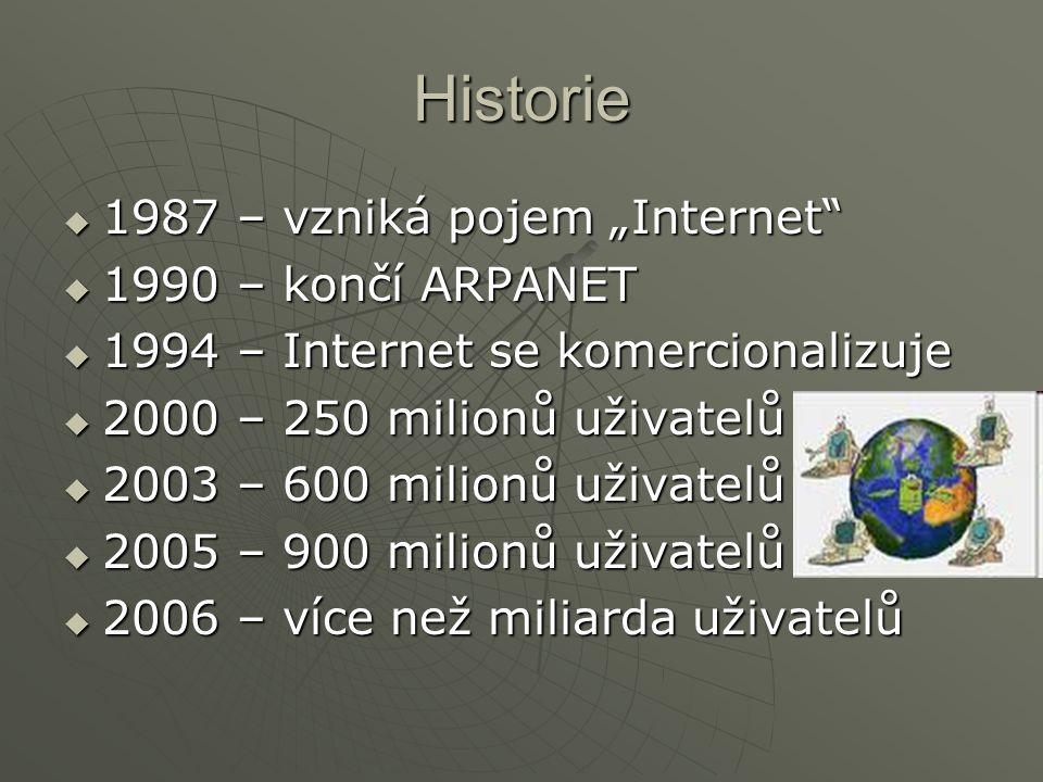 """Historie  1987 – vzniká pojem """"Internet""""  1990 – končí ARPANET  1994 – Internet se komercionalizuje  2000 – 250 milionů uživatelů  2003 – 600 mil"""