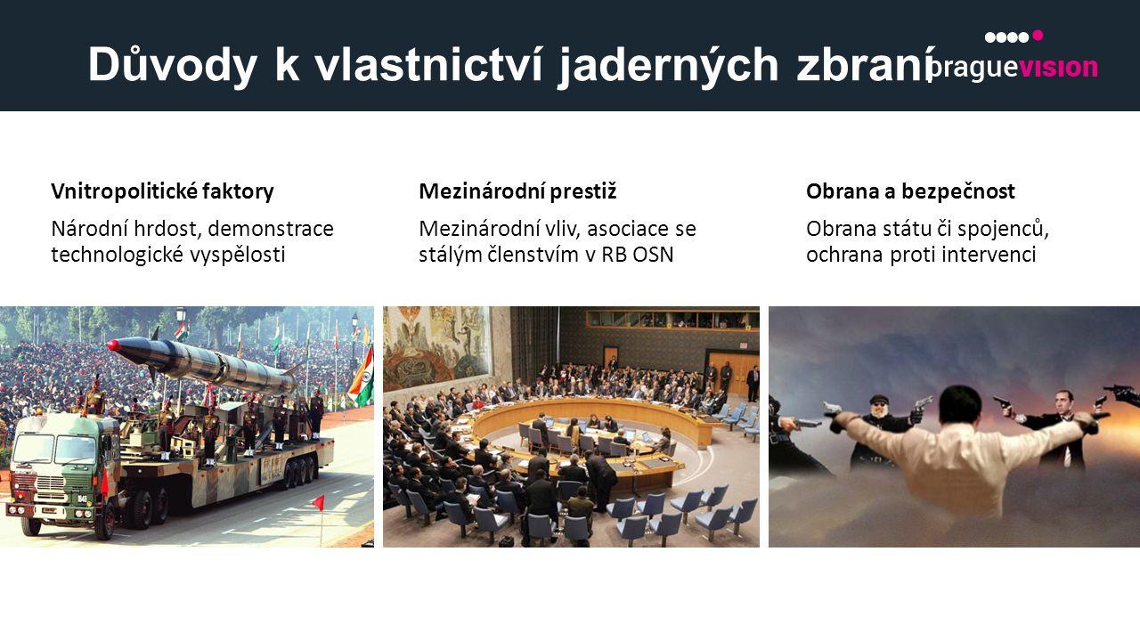 Důvody k vlastnictví jaderných zbraní Vnitropolitické faktory Národní hrdost, demonstrace technologické vyspělosti Mezinárodní prestiž Mezinárodní vli