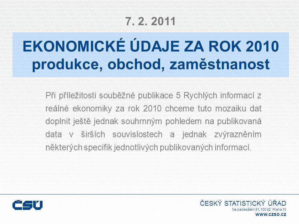 ČESKÝ STATISTICKÝ ÚŘAD Na padesátém 81, 100 82 Praha 10 www.czso.cz EKONOMICKÉ ÚDAJE ZA ROK 2010 produkce, obchod, zaměstnanost Při příležitosti souběžné publikace 5 Rychlých informací z reálné ekonomiky za rok 2010 chceme tuto mozaiku dat doplnit ještě jednak souhrnným pohledem na publikovaná data v širších souvislostech a jednak zvýrazněním některých specifik jednotlivých publikovaných informací.