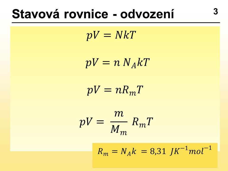 3 Stavová rovniceStavová rovnice - odvození