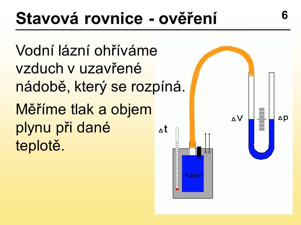 6 Stavová rovnice - ověření Vodní lázní ohříváme vzduch v uzavřené nádobě, který se rozpíná.