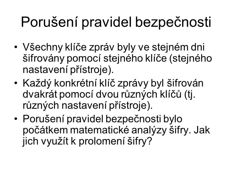 Porušení pravidel bezpečnosti Všechny klíče zpráv byly ve stejném dni šifrovány pomocí stejného klíče (stejného nastavení přístroje).