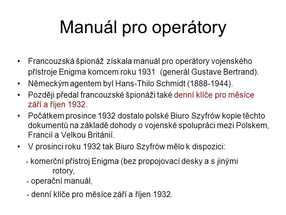 Denní klíče Denní klíč říkal, jak má být nastavený přístroj Enigma v daném dni na začátku šifrování libovolné zprávy v daném dni.
