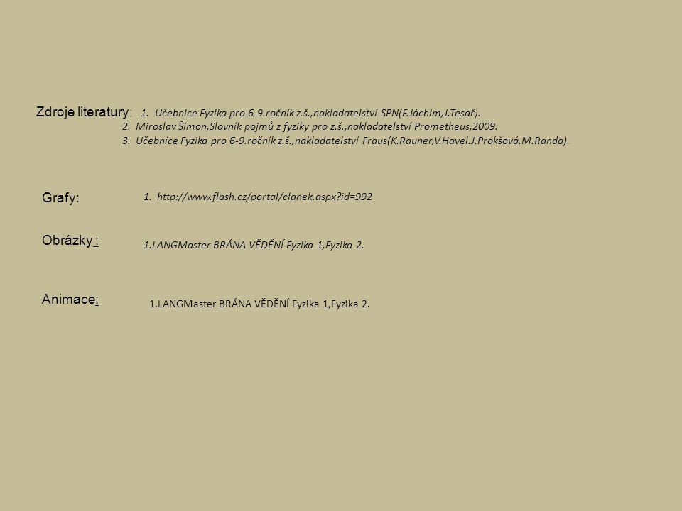 Zdroje literatury : 1. Učebnice Fyzika pro 6-9.ročník z.š.,nakladatelství SPN(F.Jáchim,J.Tesař).