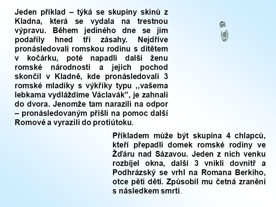 Příkladem může být skupina 4 chlapců, kteří přepadli domek romské rodiny ve Žďáru nad Sázavou. Jeden z nich venku rozbíjel okna, další 3 vnikli dovnit