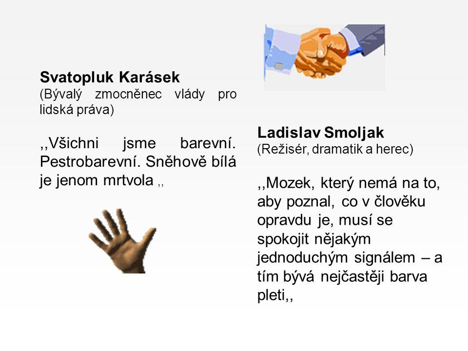 Svatopluk Karásek (Bývalý zmocněnec vlády pro lidská práva),,Všichni jsme barevní. Pestrobarevní. Sněhově bílá je jenom mrtvola,, Ladislav Smoljak (Re