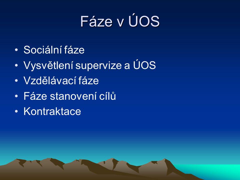 Fáze v ÚOS Sociální fáze Vysvětlení supervize a ÚOS Vzdělávací fáze Fáze stanovení cílů Kontraktace