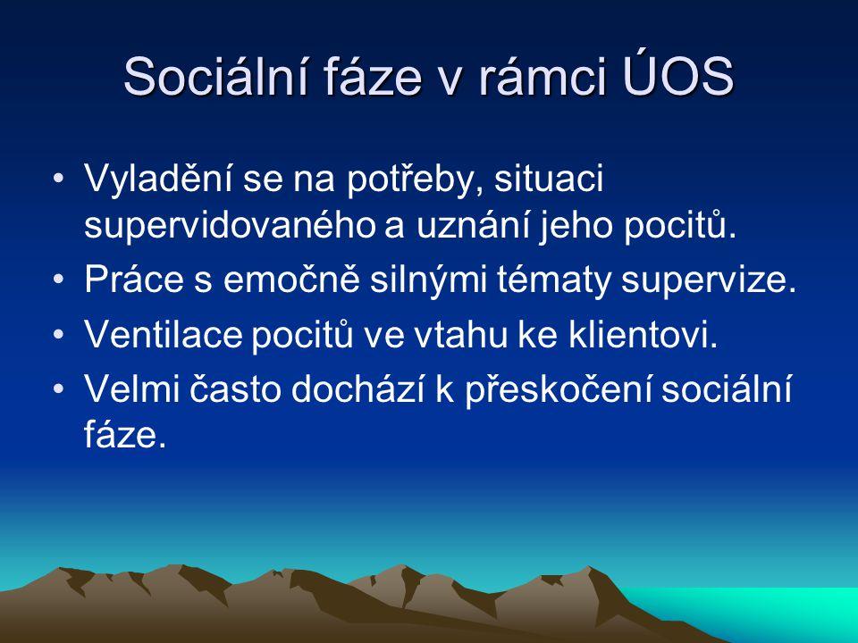 Sociální fáze v rámci ÚOS Vyladění se na potřeby, situaci supervidovaného a uznání jeho pocitů.